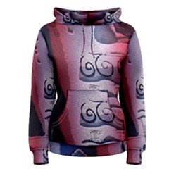 Background Fabric Patterned Blue White And Red Women s Pullover Hoodie
