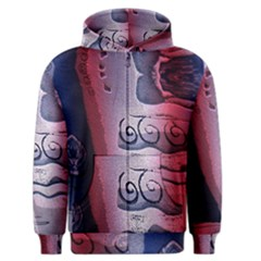 Background Fabric Patterned Blue White And Red Men s Zipper Hoodie