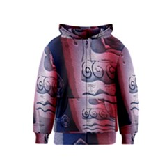 Background Fabric Patterned Blue White And Red Kids  Zipper Hoodie