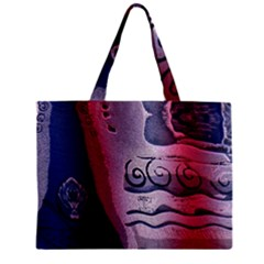 Background Fabric Patterned Blue White And Red Zipper Mini Tote Bag