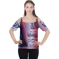 Background Fabric Patterned Blue White And Red Women s Cutout Shoulder Tee