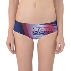 Background Fabric Patterned Blue White And Red Classic Bikini Bottoms