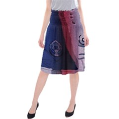 Background Fabric Patterned Blue White And Red Midi Beach Skirt