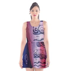 Background Fabric Patterned Blue White And Red Scoop Neck Skater Dress
