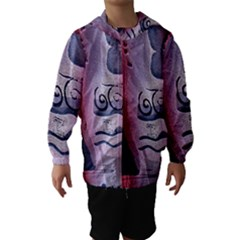 Background Fabric Patterned Blue White And Red Hooded Wind Breaker (Kids)
