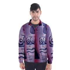 Background Fabric Patterned Blue White And Red Wind Breaker (men)