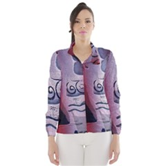 Background Fabric Patterned Blue White And Red Wind Breaker (Women)