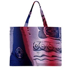 Background Fabric Patterned Blue White And Red Large Tote Bag