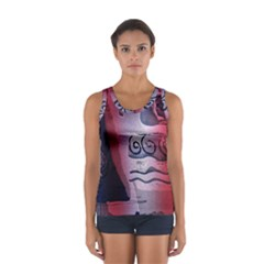 Background Fabric Patterned Blue White And Red Women s Sport Tank Top