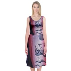 Background Fabric Patterned Blue White And Red Midi Sleeveless Dress
