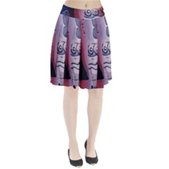 Background Fabric Patterned Blue White And Red Pleated Skirt