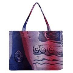 Background Fabric Patterned Blue White And Red Medium Zipper Tote Bag