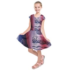 Background Fabric Patterned Blue White And Red Kids  Short Sleeve Dress