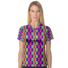 Background For Scrapbooking Or Other Patterned Wood Women s V-Neck Sport Mesh Tee