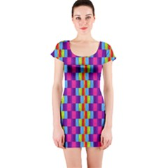 Background For Scrapbooking Or Other Patterned Wood Short Sleeve Bodycon Dress