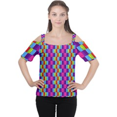 Background For Scrapbooking Or Other Patterned Wood Women s Cutout Shoulder Tee