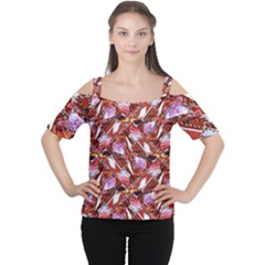 Background For Scrapbooking Or Other Shellfish Grounds Women s Cutout Shoulder Tee