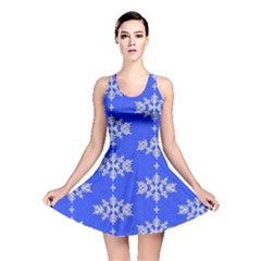 Background For Scrapbooking Or Other Snowflakes Patterns Reversible Skater Dress