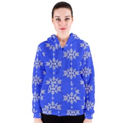 Background For Scrapbooking Or Other Snowflakes Patterns Women s Zipper Hoodie