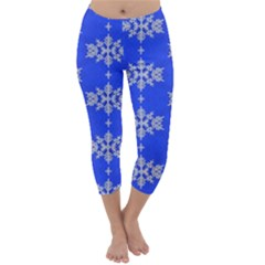 Background For Scrapbooking Or Other Snowflakes Patterns Capri Winter Leggings