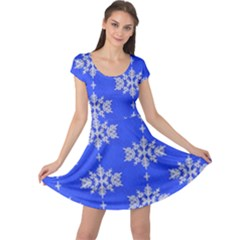 Background For Scrapbooking Or Other Snowflakes Patterns Cap Sleeve Dresses