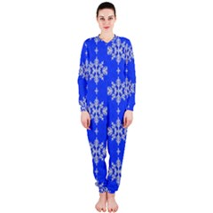 Background For Scrapbooking Or Other Snowflakes Patterns OnePiece Jumpsuit (Ladies)
