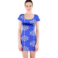 Background For Scrapbooking Or Other Snowflakes Patterns Short Sleeve Bodycon Dress