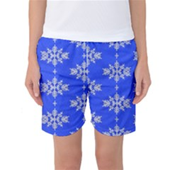 Background For Scrapbooking Or Other Snowflakes Patterns Women s Basketball Shorts