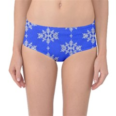 Background For Scrapbooking Or Other Snowflakes Patterns Mid-Waist Bikini Bottoms