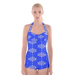 Background For Scrapbooking Or Other Snowflakes Patterns Boyleg Halter Swimsuit