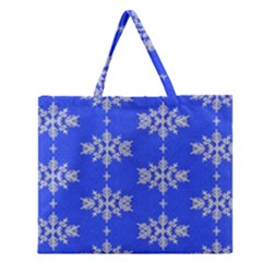 Background For Scrapbooking Or Other Snowflakes Patterns Zipper Large Tote Bag