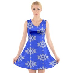 Background For Scrapbooking Or Other Snowflakes Patterns V Neck Sleeveless Skater Dress