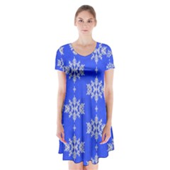 Background For Scrapbooking Or Other Snowflakes Patterns Short Sleeve V-neck Flare Dress