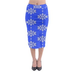 Background For Scrapbooking Or Other Snowflakes Patterns Midi Pencil Skirt