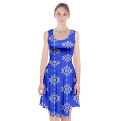 Background For Scrapbooking Or Other Snowflakes Patterns Racerback Midi Dress