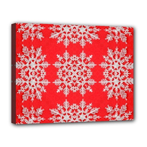 Background For Scrapbooking Or Other Stylized Snowflakes Canvas 14  x 11