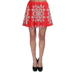 Background For Scrapbooking Or Other Stylized Snowflakes Skater Skirt