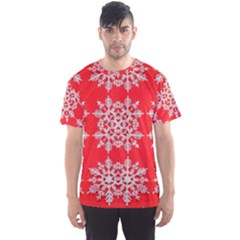 Background For Scrapbooking Or Other Stylized Snowflakes Men s Sport Mesh Tee