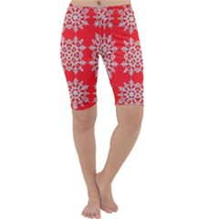 Background For Scrapbooking Or Other Stylized Snowflakes Cropped Leggings