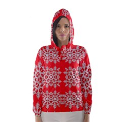 Background For Scrapbooking Or Other Stylized Snowflakes Hooded Wind Breaker (Women)
