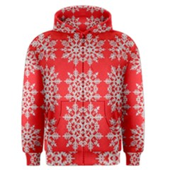 Background For Scrapbooking Or Other Stylized Snowflakes Men s Zipper Hoodie