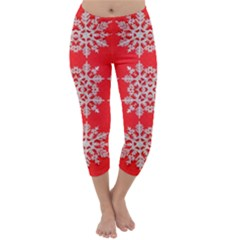 Background For Scrapbooking Or Other Stylized Snowflakes Capri Winter Leggings