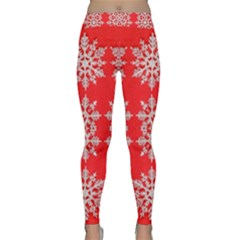 Background For Scrapbooking Or Other Stylized Snowflakes Classic Yoga Leggings