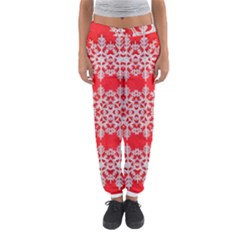Background For Scrapbooking Or Other Stylized Snowflakes Women s Jogger Sweatpants