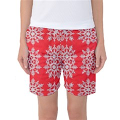 Background For Scrapbooking Or Other Stylized Snowflakes Women s Basketball Shorts