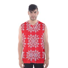 Background For Scrapbooking Or Other Stylized Snowflakes Men s Basketball Tank Top