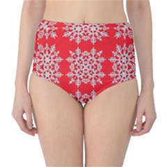 Background For Scrapbooking Or Other Stylized Snowflakes High Waist Bikini Bottoms