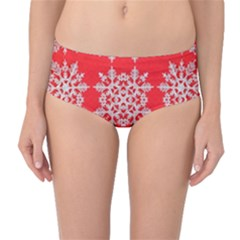 Background For Scrapbooking Or Other Stylized Snowflakes Mid Waist Bikini Bottoms