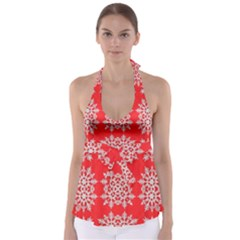 Background For Scrapbooking Or Other Stylized Snowflakes Babydoll Tankini Top