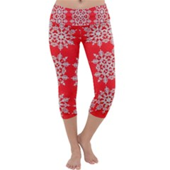 Background For Scrapbooking Or Other Stylized Snowflakes Capri Yoga Leggings